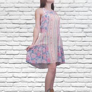 Bcbgmaxazria lydea print block floral slip dress